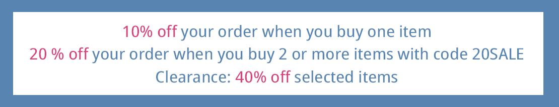 Winter SALE: 10% off your order - 20% off from 2 items in the basket and 40% on selected items